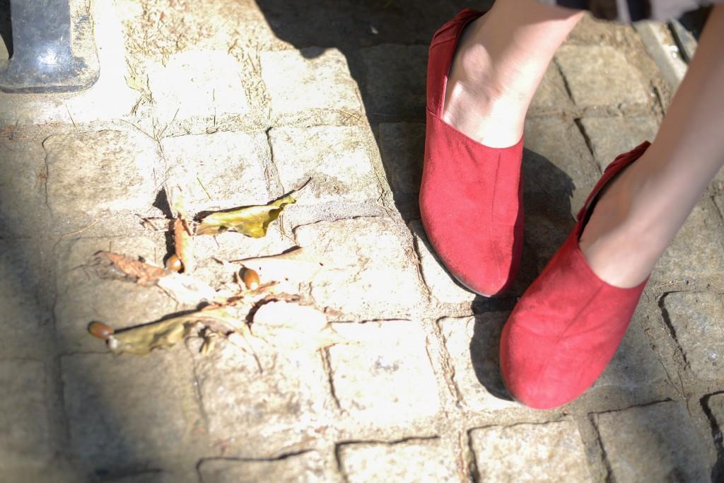天然の日の光でスポットを浴びる落ち葉と赤い靴