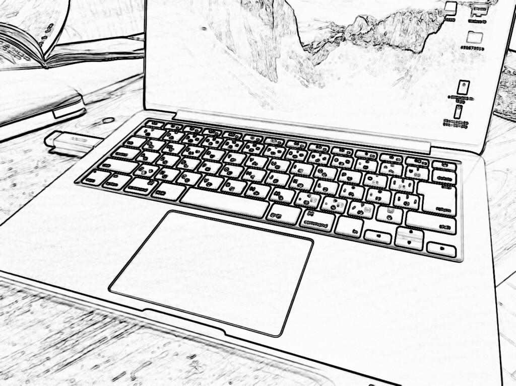 「スケッチ風」ノートパソコンで作業