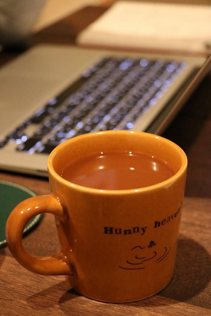 ミルクコーヒーを飲んでひと休み