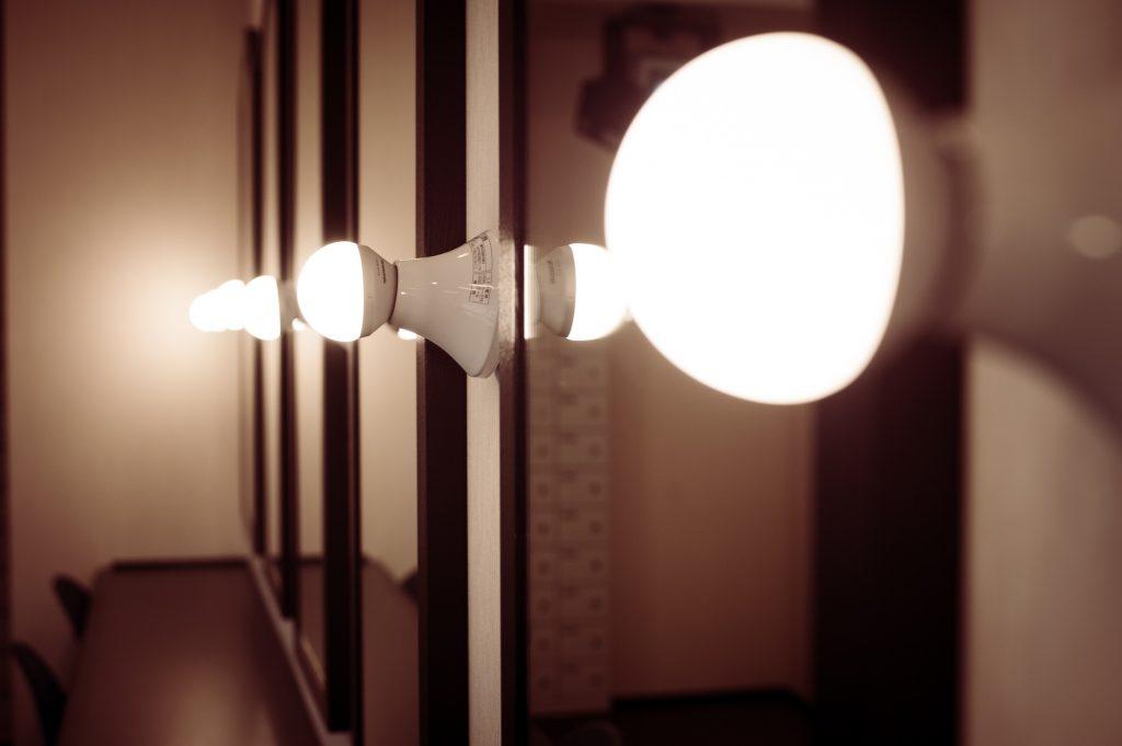スタジオ裏の控室の鏡とライト
