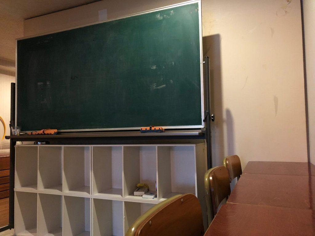 教室の机と黒板